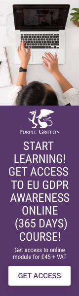 EU GDPR Staff Awareness Online Training Course - Learn From Home With Purple Griffon