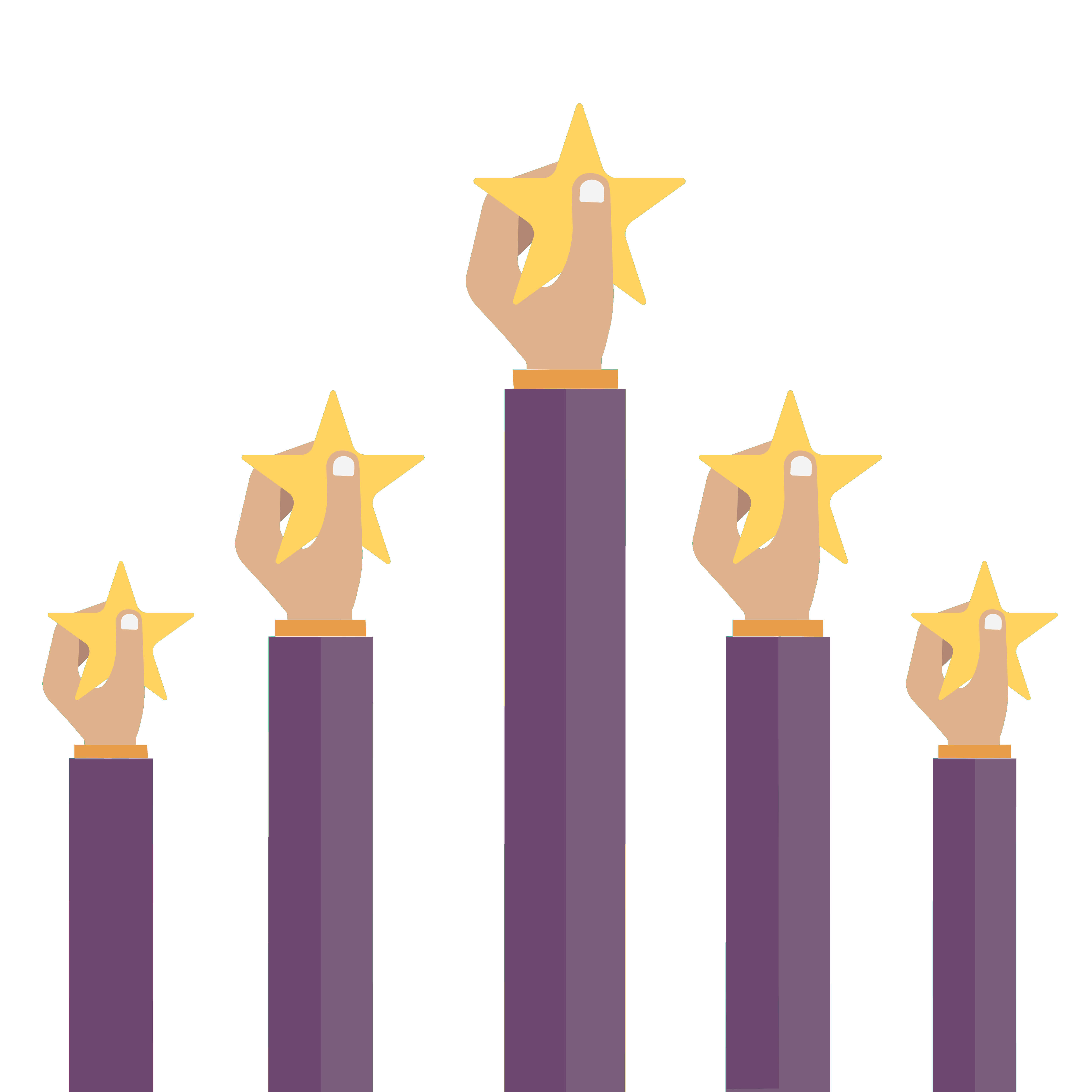 Employees holding stars up!